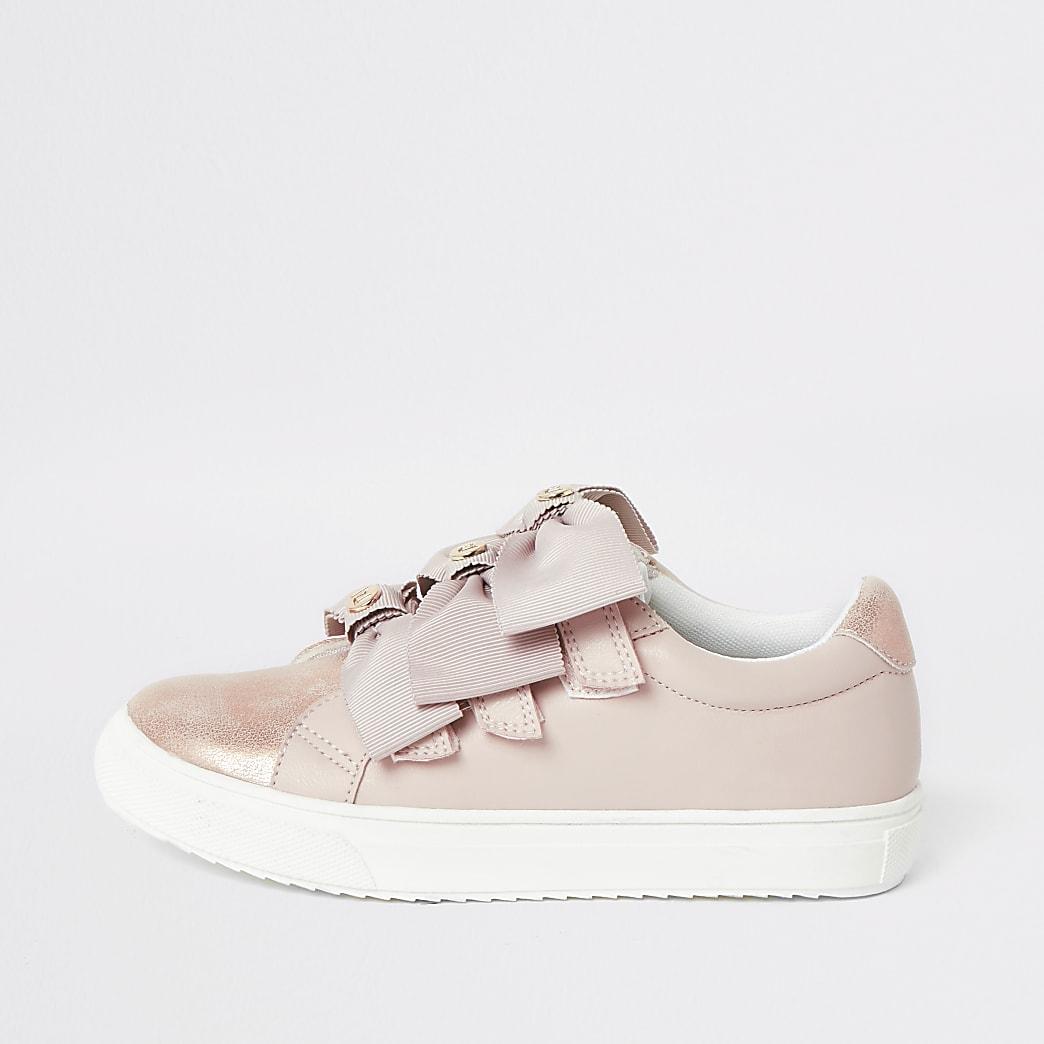 Roze metallic sneakers met strikjes en bandjes voor meisjes