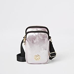Girls pink metallic jacquard cross body bag