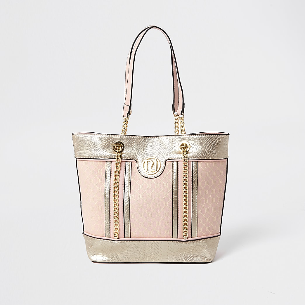 Girls pink metallic jacquard shopper bag