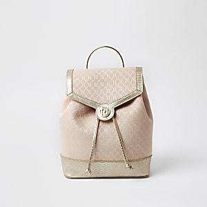 Girls pink metallic monogram rucksack