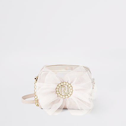 Girls pink metallic RI bow cross body bag