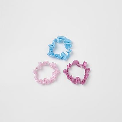 Girls pink mini hair scrunchies 3 pack