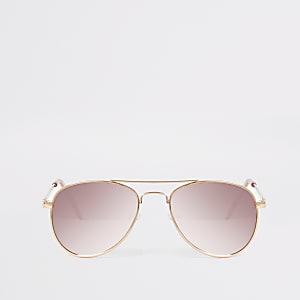 Lunettes de soleil aviateur roses à effet miroir pour fille