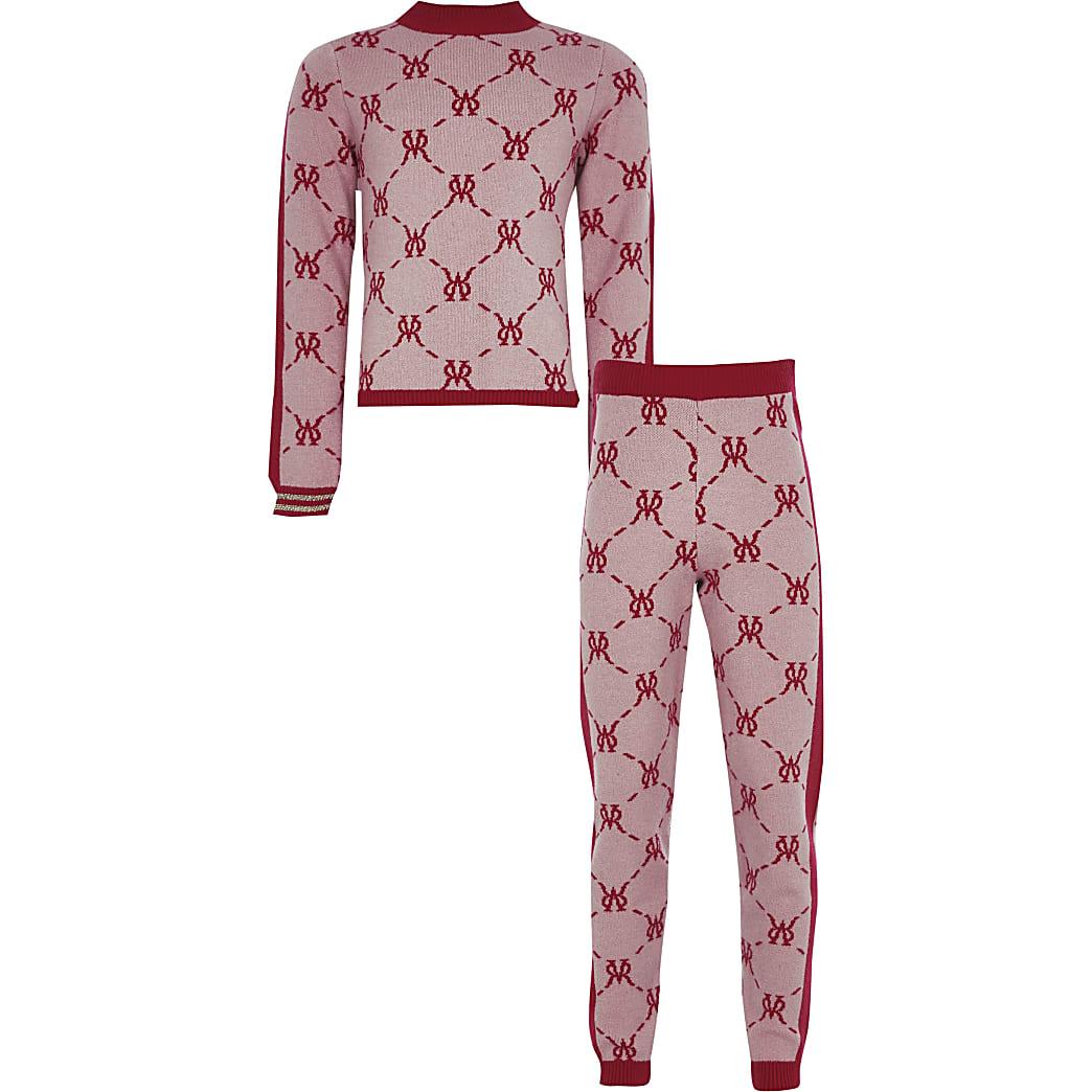 Girls pink monogram legging outfit