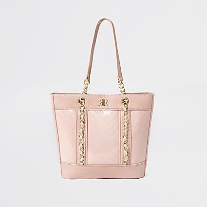 Girls pink monogram shopper bag