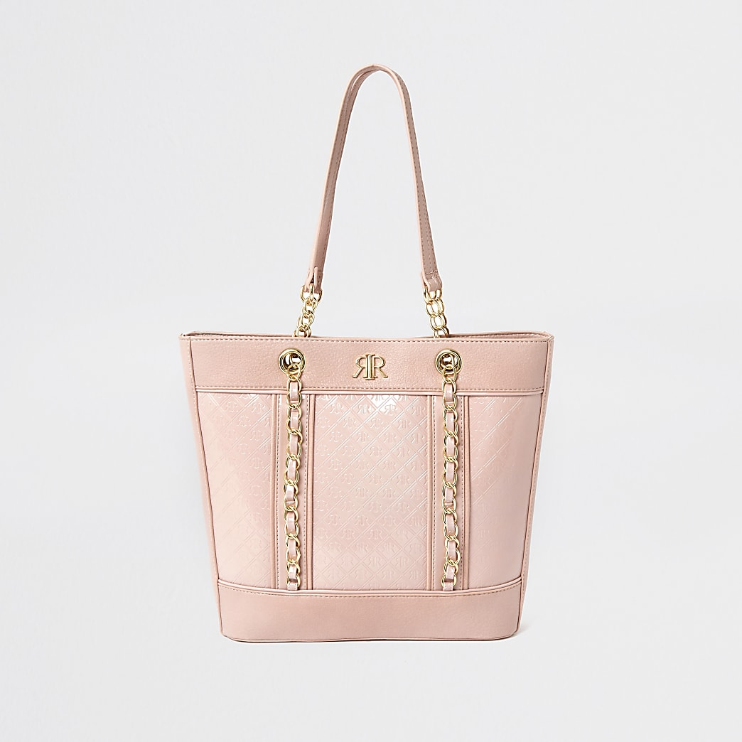 Girls pink monogram shopper bag