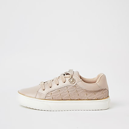 Girls pink monogram studded trainers