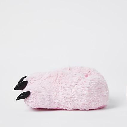 Girls pink monster foot slippers