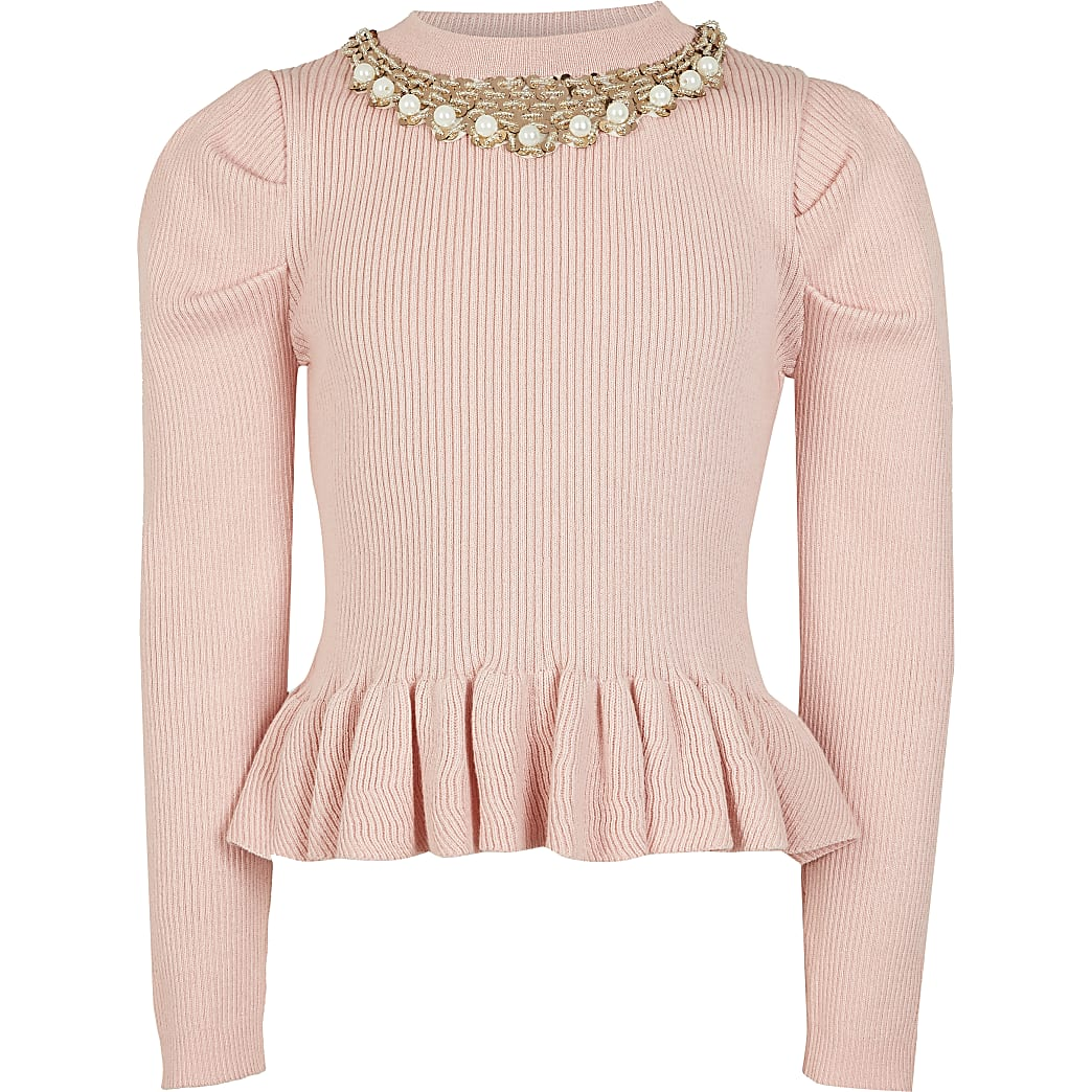 Girls pink necklace peplum Jumper
