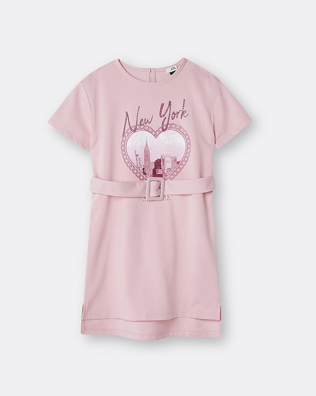 Girls pink 'New York' belted t-shirt dress