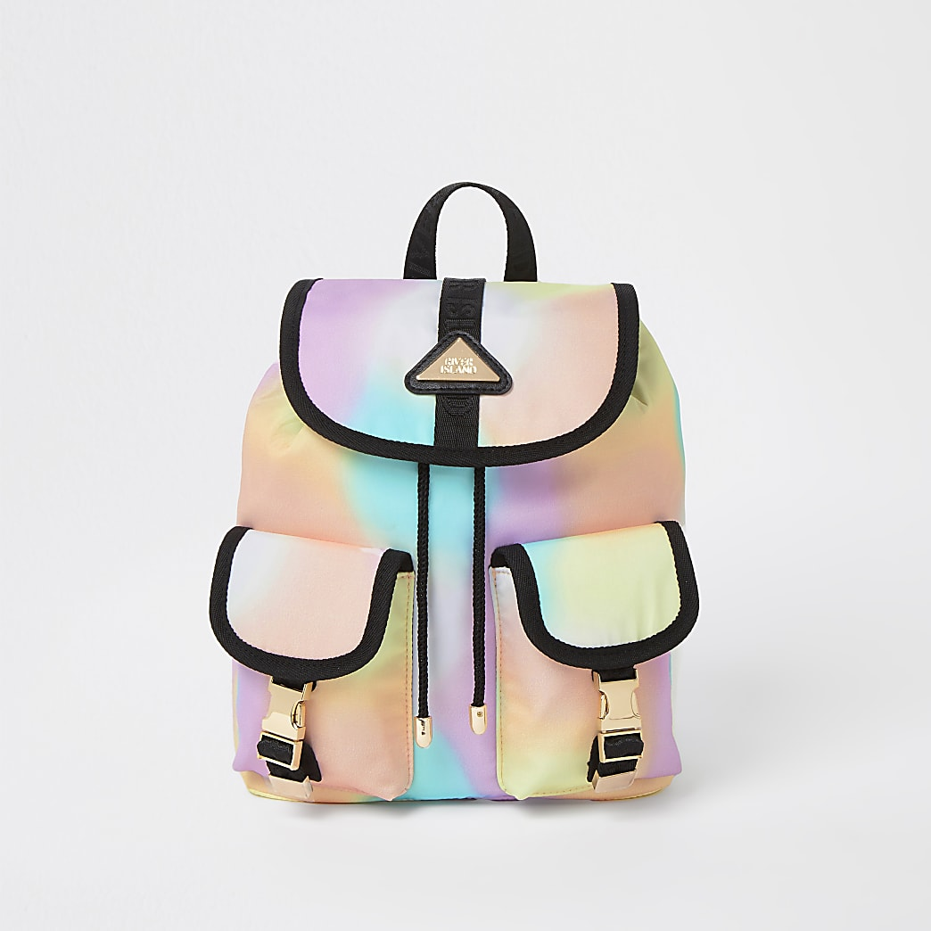 Girls pink nylon ombre backpack