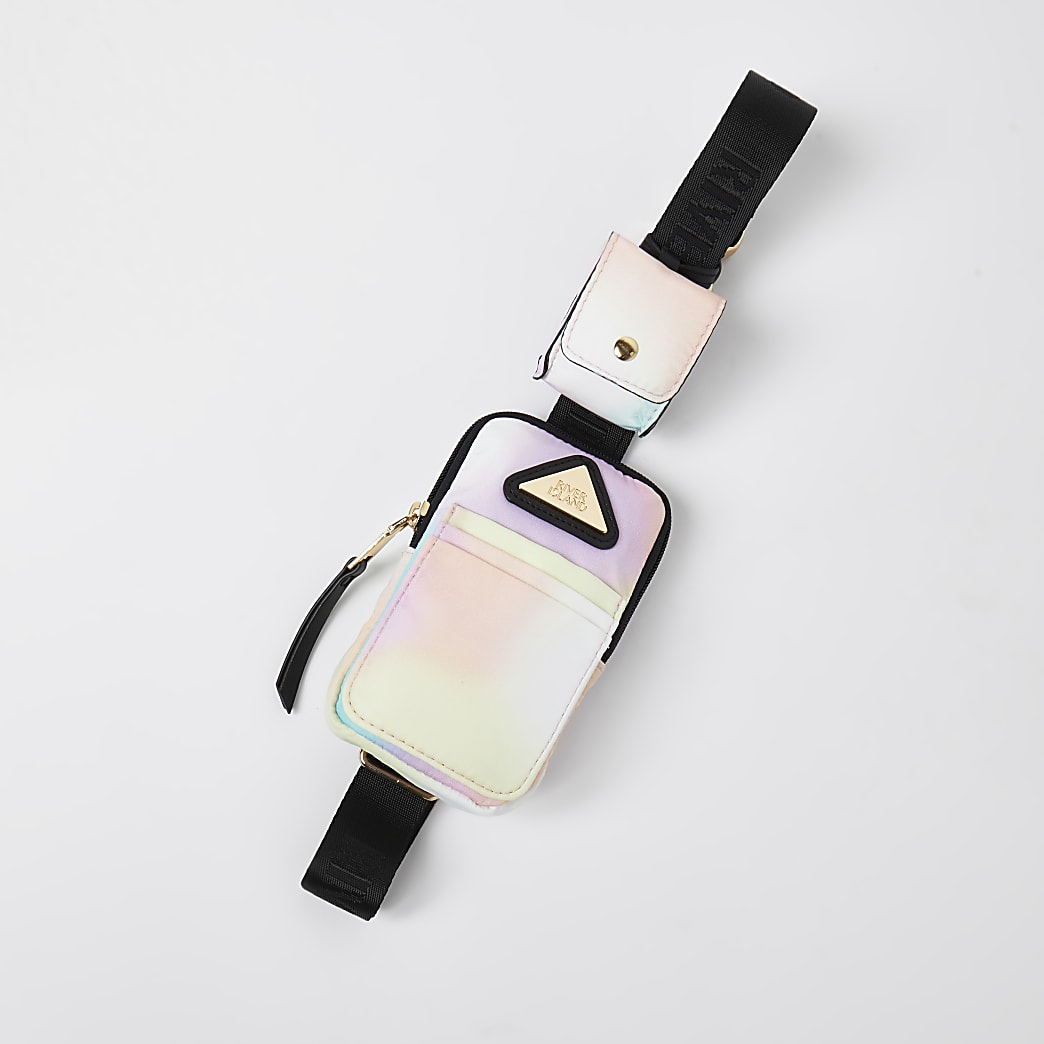 Girls pink nylon ombre crossbody phone bag