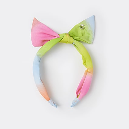 Girls pink ombre bow headband
