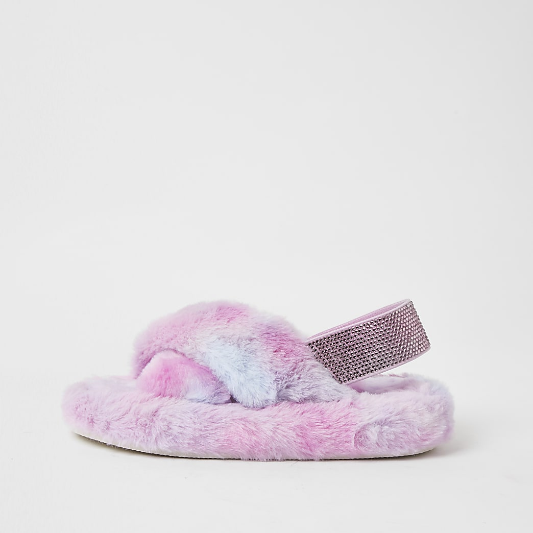 Girls pink ombre faux fur slippers