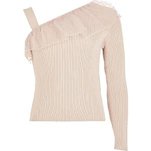 Haut en maille avec volants sur une épaule rose pour fille