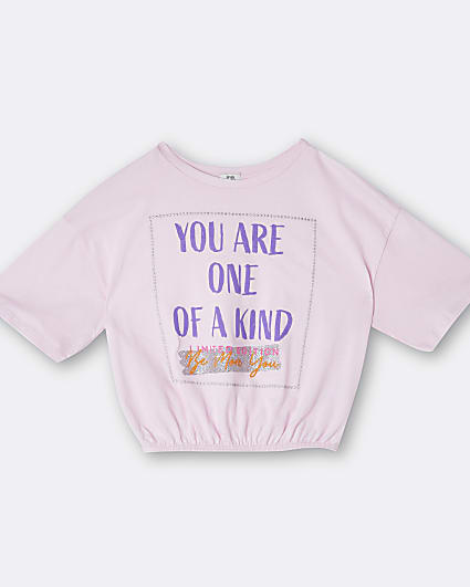 Girls pink 'One Of A Kind' cinch t-shirt