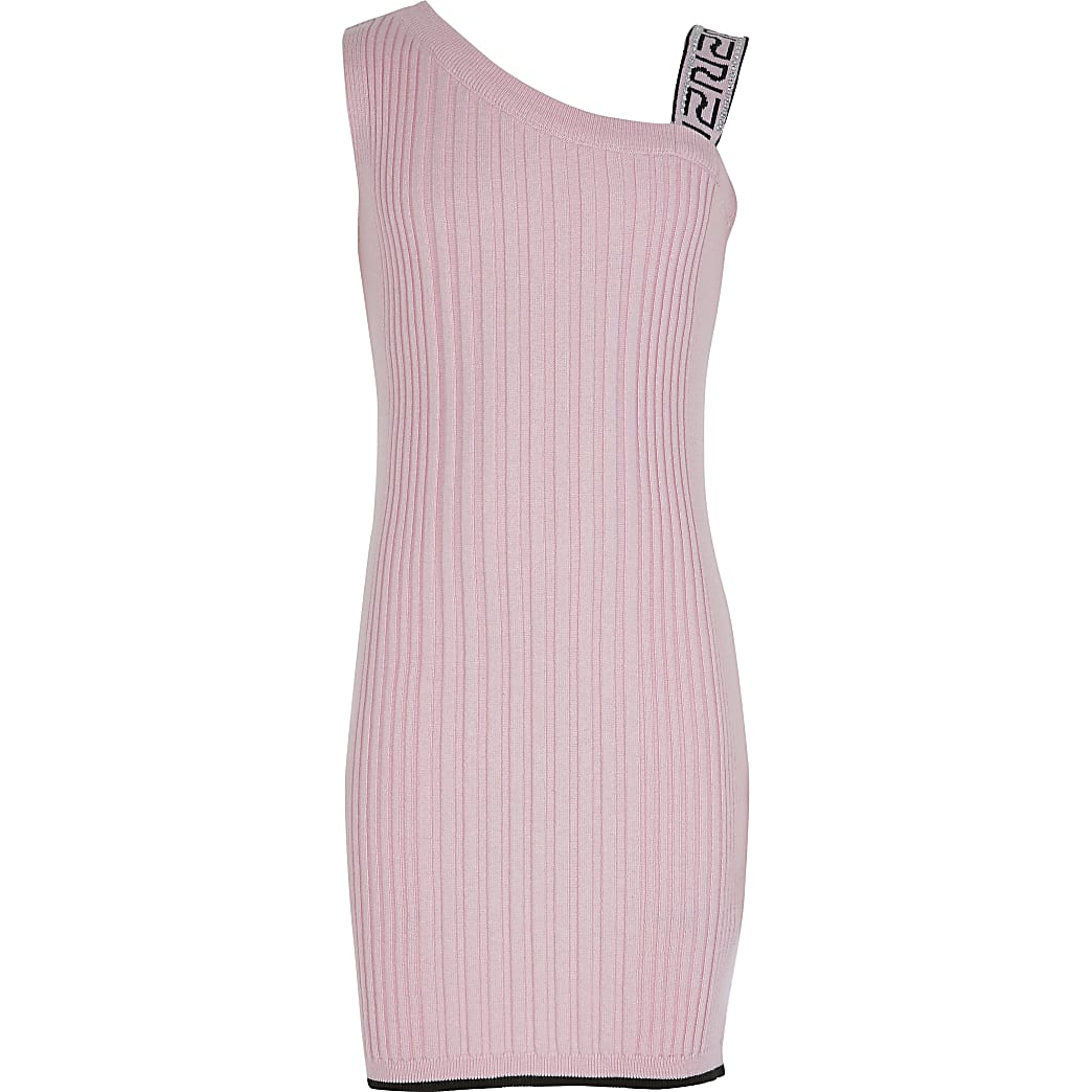 Girls pink one shoulder fitted dress