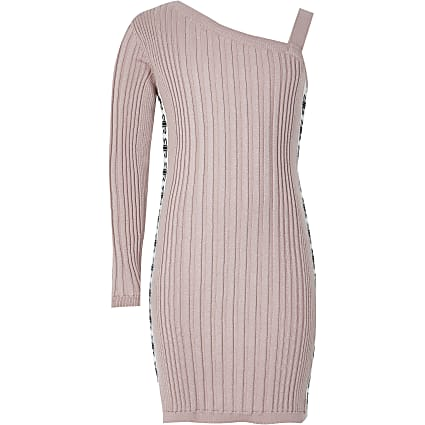 Girls pink one shoulder knitted dress