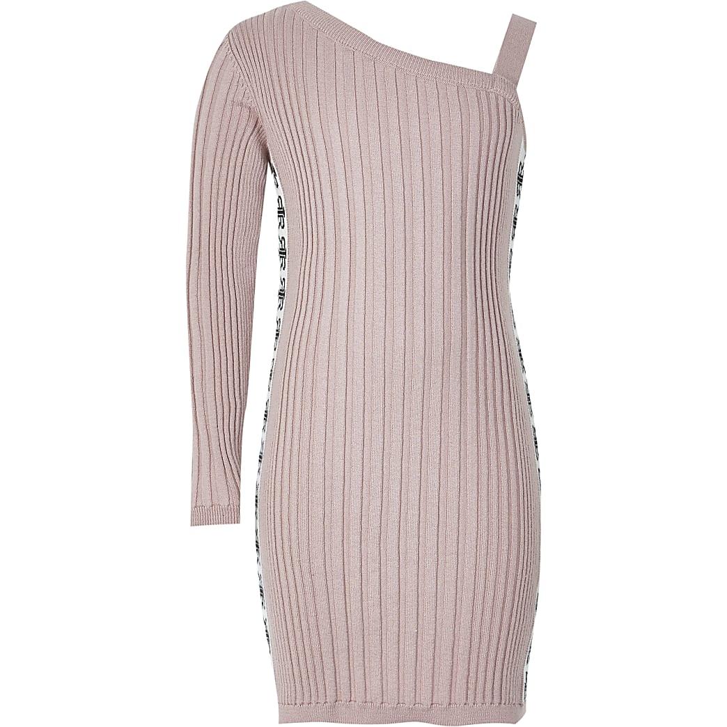 Girls pink one shoulder knitted dress