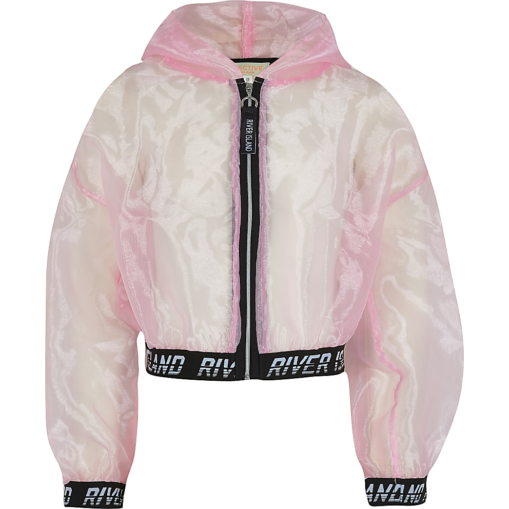 Girls pink organza bomber jacket
