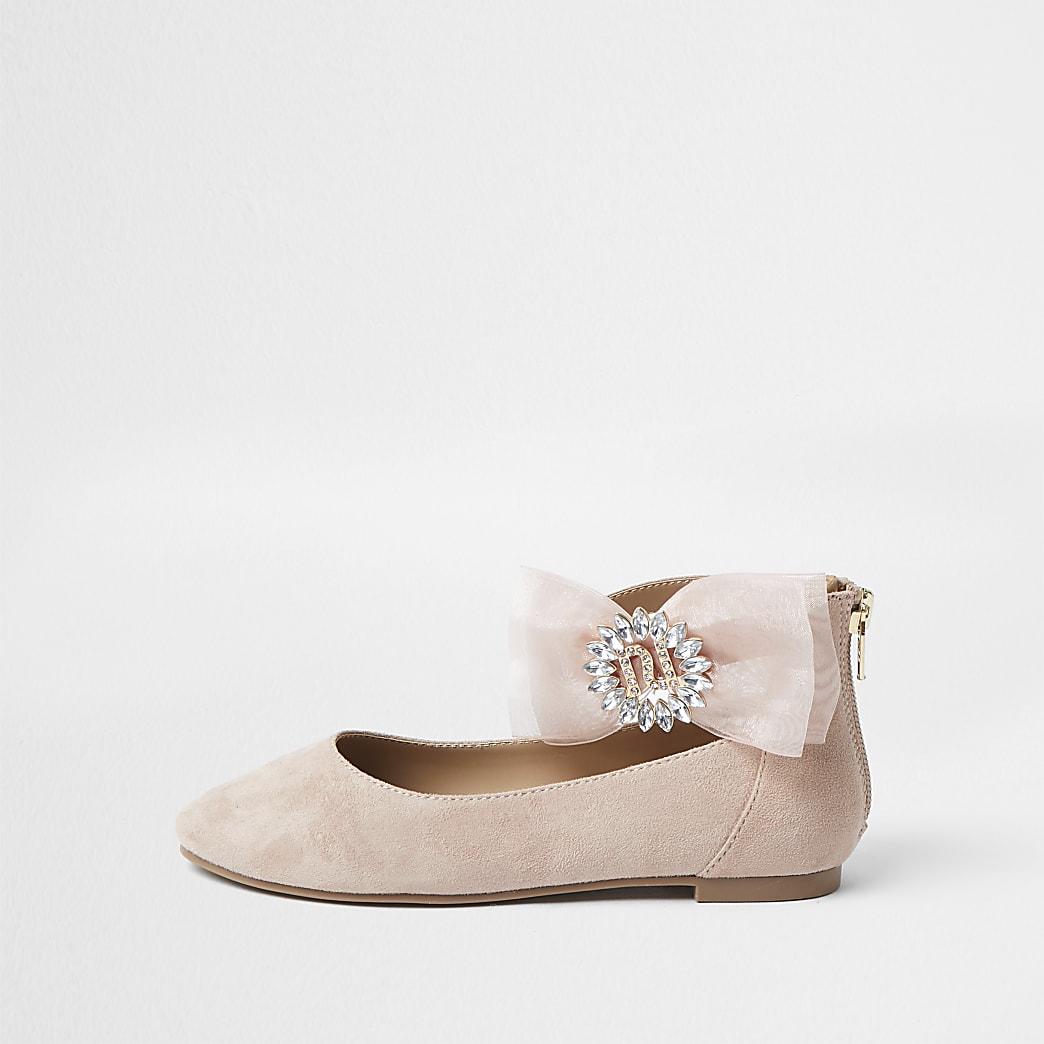 Girls pink organza bow ballerina shoes