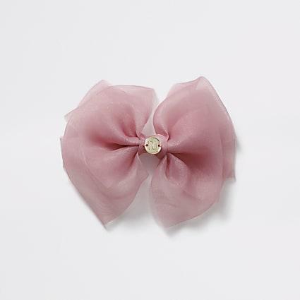 Girls pink organza bow clip