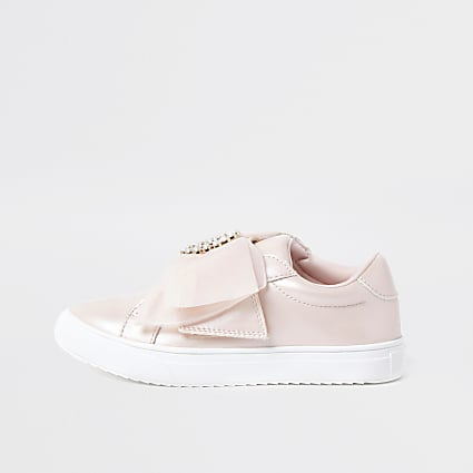 Girls pink organza bow embellished trainers
