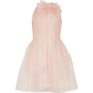 Robe de gala rose en organza avecnœudau col pour fille