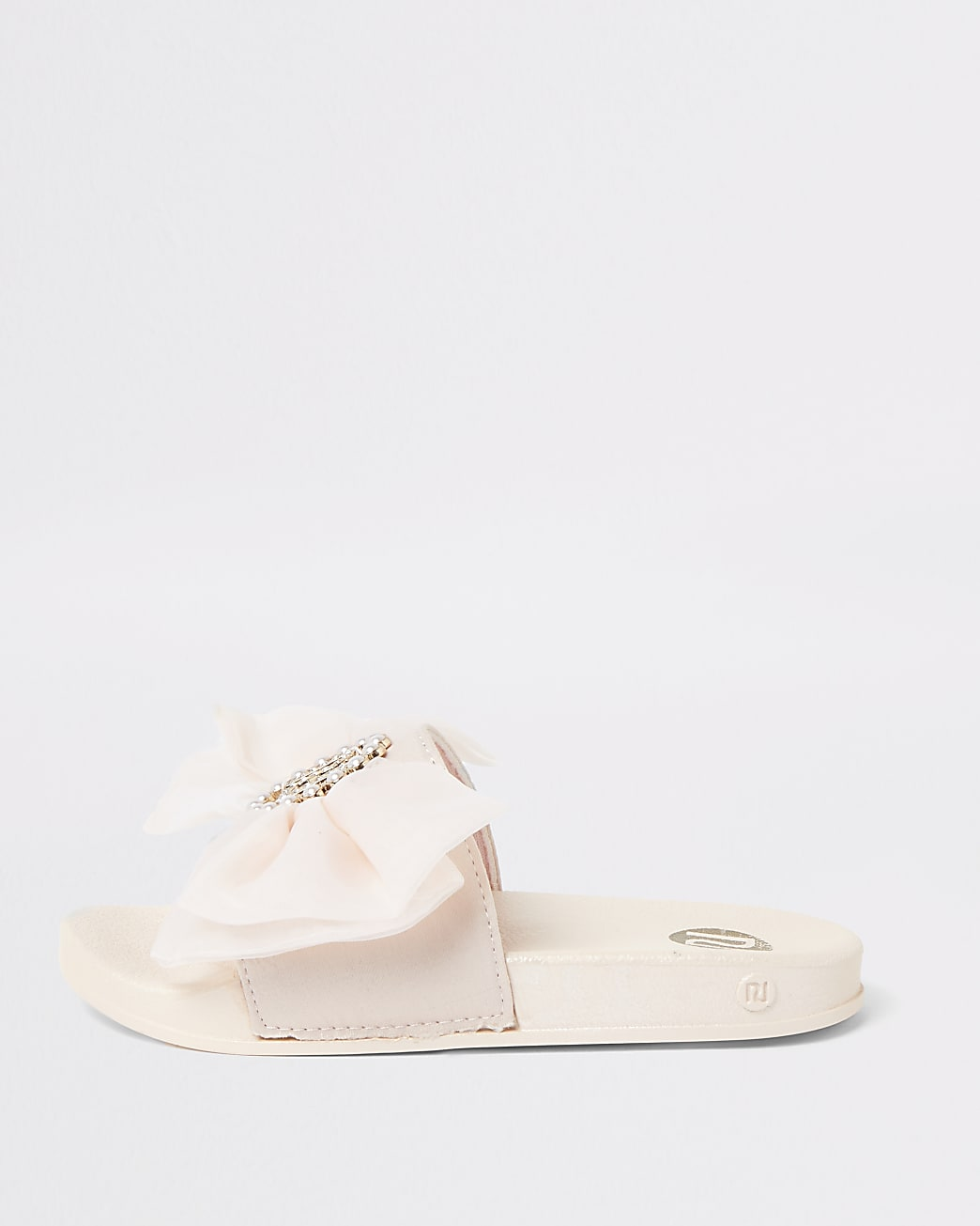 Girls pink organza bow sliders