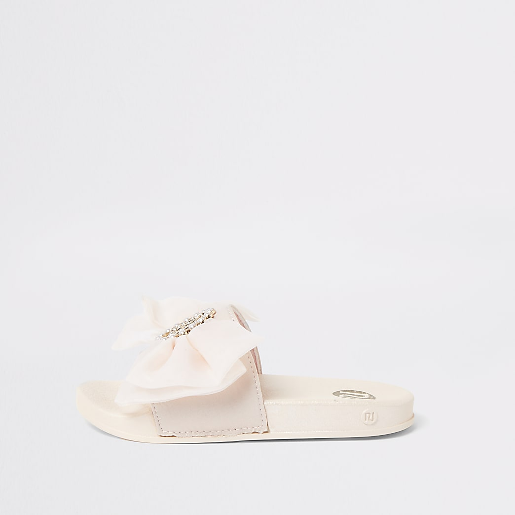 Girls pink organza bow sliders