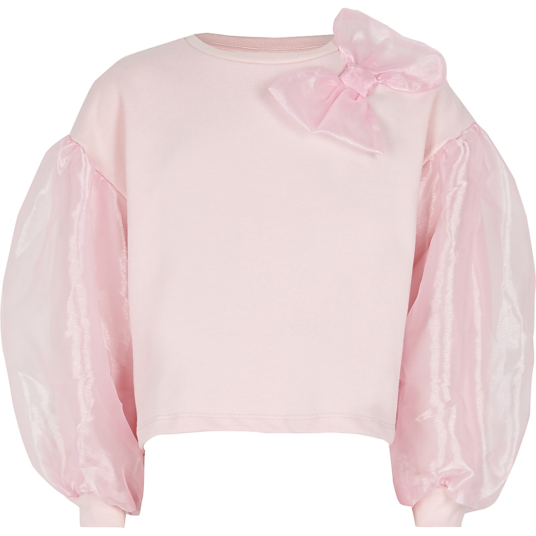 Girls pink organza bow sweatshirt