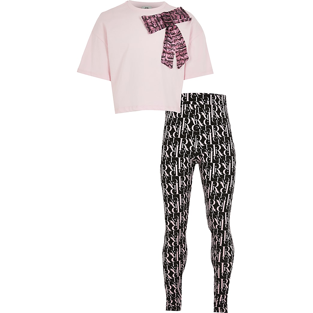 Girls pink organza bow t-shirt outfit