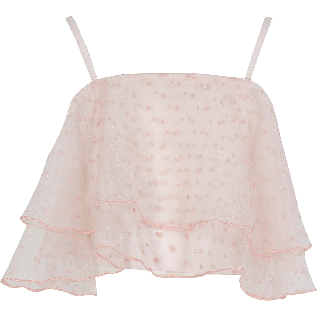 Girls pink organza dobby crop top