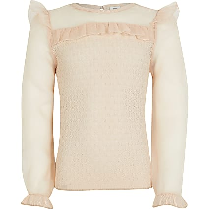 Girls pink organza jumper
