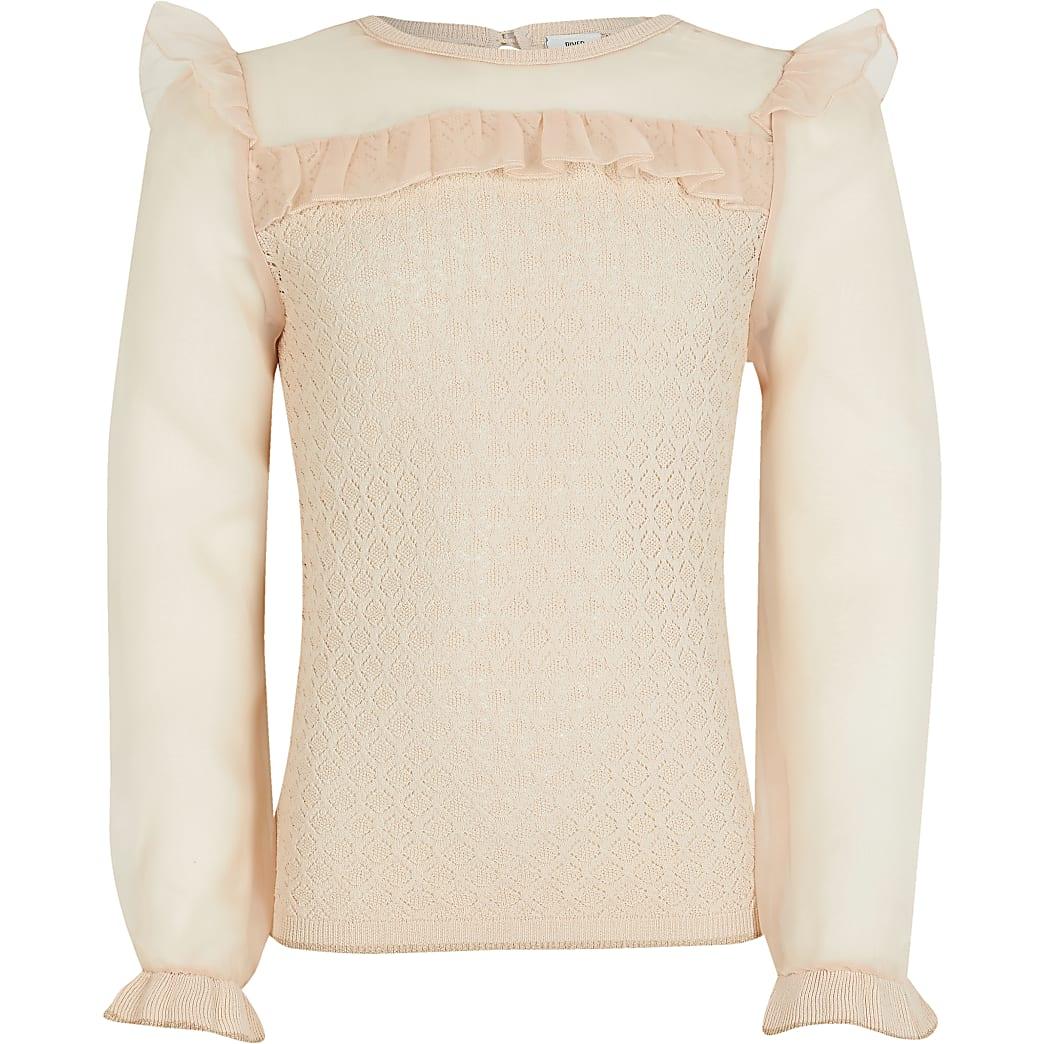 Girls pink organza jumper