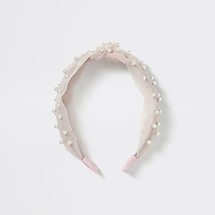 Girls pink organza pearl knot headband