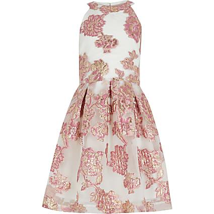 Girls pink organza prom dress