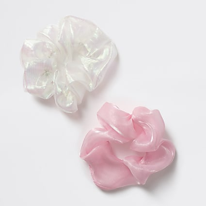 Girls pink organza scrunchies 2 pack