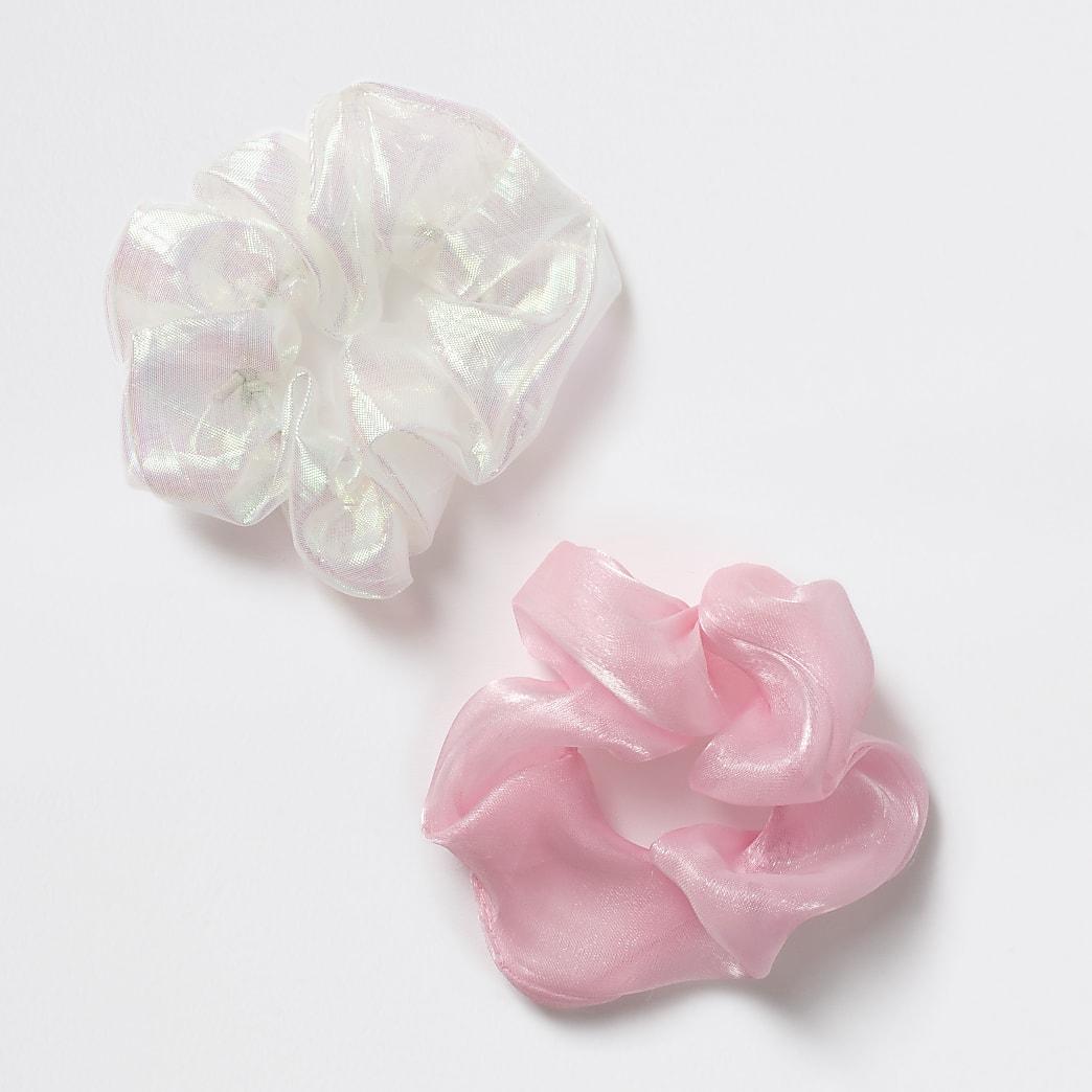 Girls pink organza scrunchies 2 pack