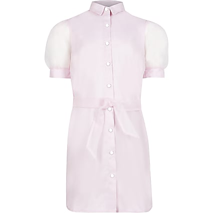Girls pink organza shirt dress