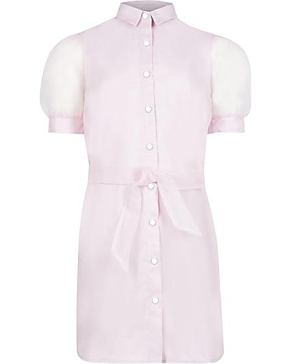Girls pink organza shirt dress