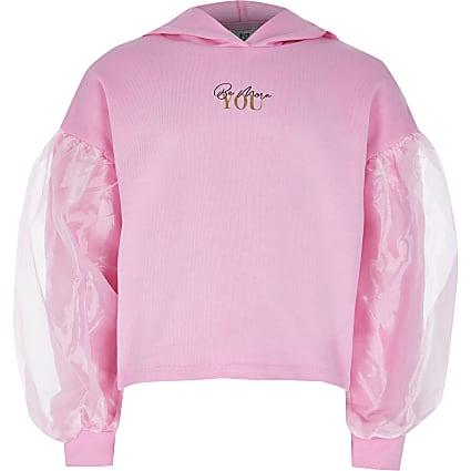 Girls pink organza sleeve hoodie