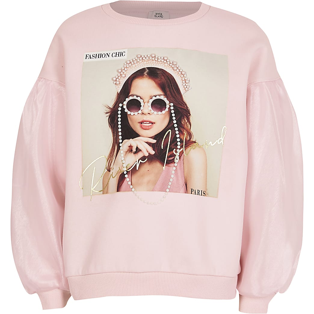 Girls pink organza sleeve sweatshirt