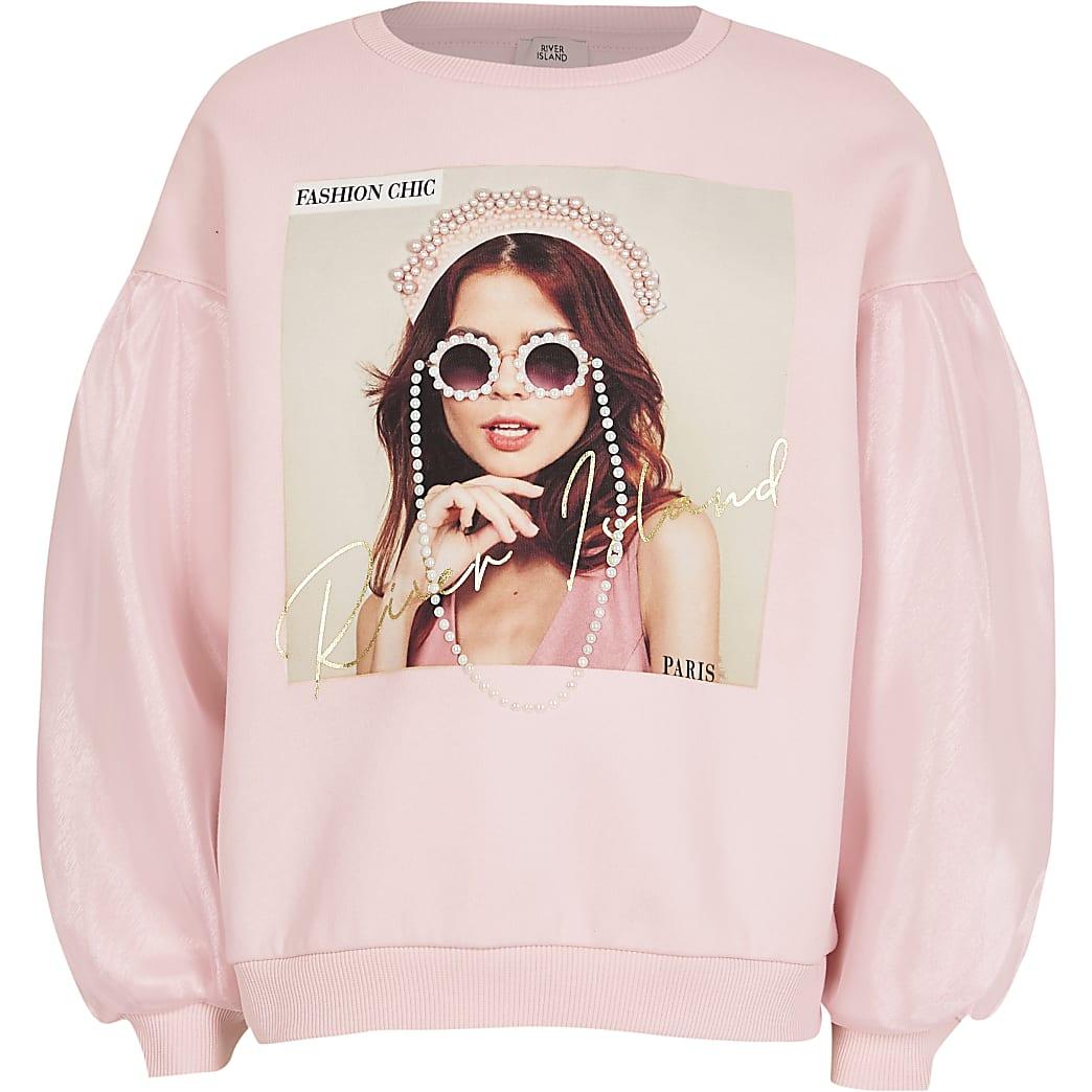 Girls pink organza sleeve sweatshirt