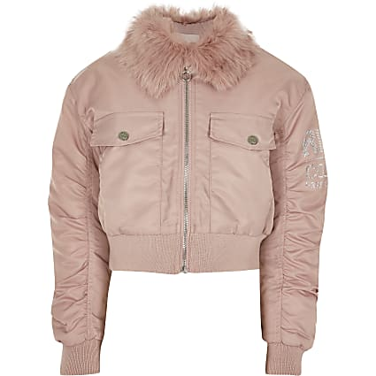 Girls pink padded bomber jacket