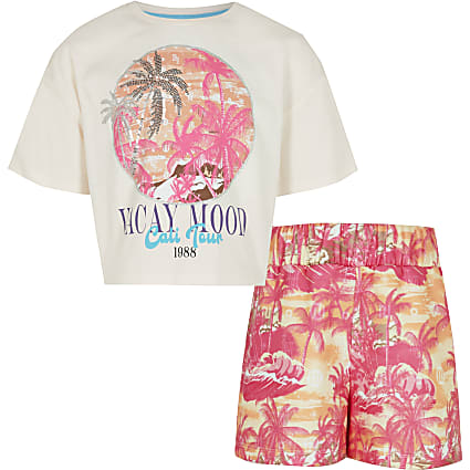 Girls pink palm print shorts outfit