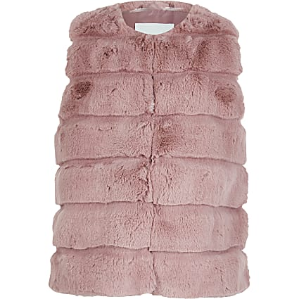 Girls pink panelled faux fur gilet