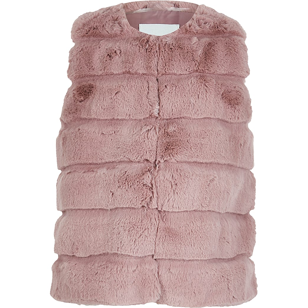 Girls pink panelled faux fur gilet