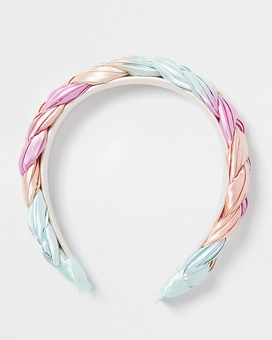 Girls pink pastel plaited hairband