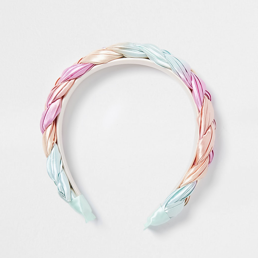 Girls pink pastel plaited hairband